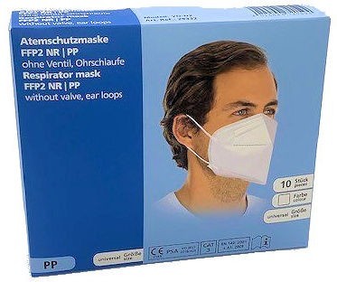 FFP2 Atemschutzmaske ohne Ventil CE und EN zertifiziert | Box mit 10 FFP 2 Masken
