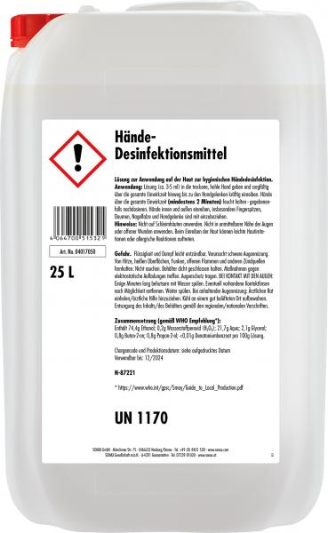 Sonax Hände-Desinfektionsmittel | 25-Liter-Kanister