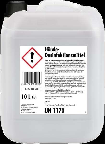 Sonax Hände-Desinfektionsmittel | 10-Liter-Kanister